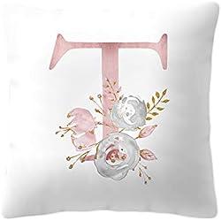 BIGBOBA Kreativ Brief Kissenbezug mit Blumenmuster Pillowcase Sofa Kissen Englisch Alphabet Kissenbezüge Dekorativer Kissenbezug 45cm*45cm (T)