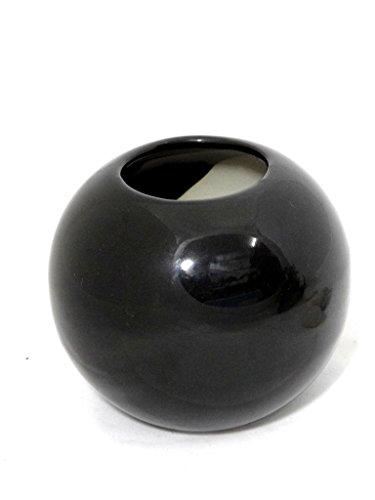 Fourwalls Circular Ceramic Vase (Black, 7245/1125)