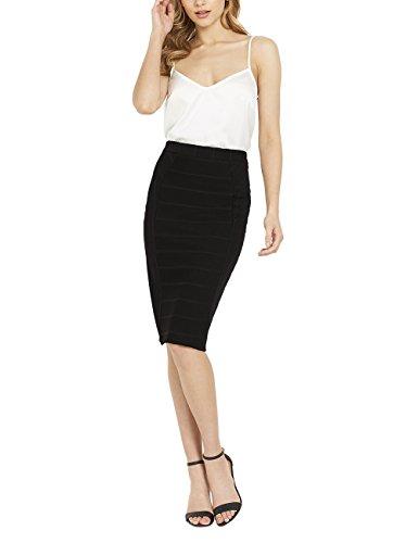 Lipsy Femme Jupe style avec effet bandelettes Coupe classique Noir