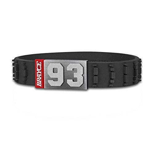 BRAYCE Bracciale sport motoristici numero 00-99 (numero di partenza, numero fortunato) in stile pneumatico (motocross): il gioiello per per Moto-GP, Formula