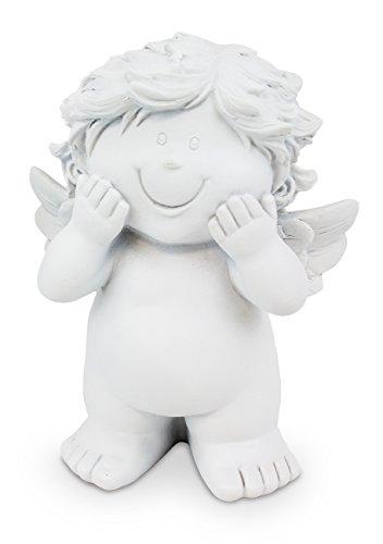 Deko Figur Schutzengel Baby Engel stehend aus Polystein weiß, 15 cm groß, Dekofigur Dekoengel Engelfigur Babyengel (Taufe Engel Figur)