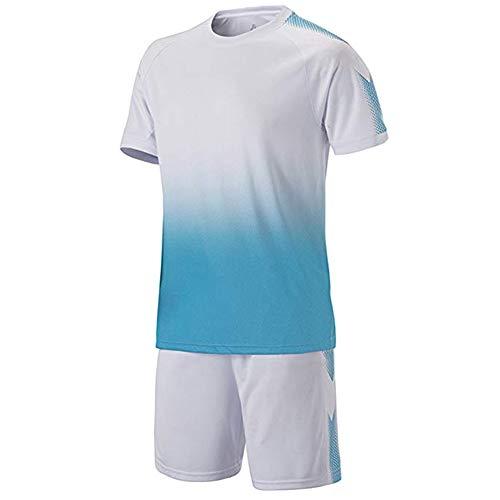 Meijunter Fußball Training Suit - Jugend Kinder Erwachsene Soccer Jerseys Sportbekleidung Hemden + Shorts Set Wettbewerb Uniforms Tracksuits - Die Jugend Weiß Basketball T-shirt