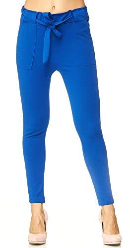 Elara Damen Stretch Hose | Gummibund | Stoffhose mit Schleife | Slim Fit | Chunkyrayan 7722 Royal Blue 40/L (Blau Leggings Royal)