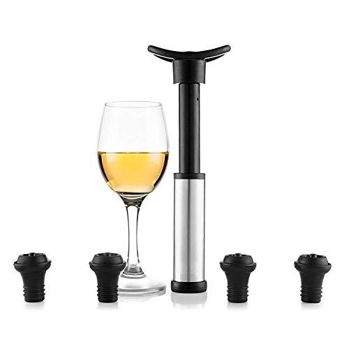 TOOGOO Wein Vakuumpumpe mit 4 Stopfen - Weinverschluss Fuer Lange Haltbarkeit Silber-schwarz