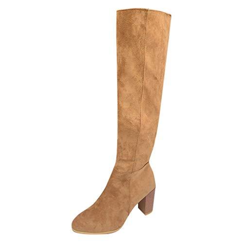 Udancin Damen Hohe Stiefel Schwarz Overknees Stiefeletten Wildleder Knee Boots Übergrößen Spitze Vorderkappe Kniestiefel Flat Knee Length Leather Hohe Stiefel Langschaft Stiefel Flandell