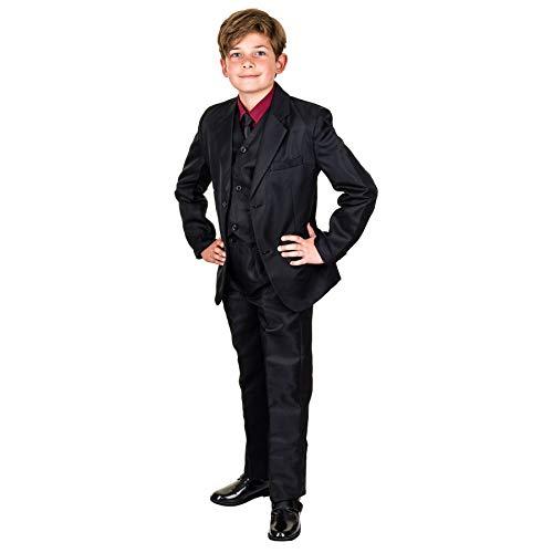 Les Voiliers 6tlg. Kinder Fest Anzug Kommunionsanzug Smoking extra Hemd in vielen Farben M289hrt Hemd Rot Gr. 10/128 / 134 (Kirche Krawatten Für Jungen)