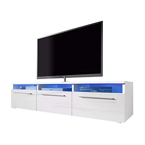 Meuble TV LAVELLO avec LED/ Cabinet pour la TV/ (blanc/ fronts blanc brillant)