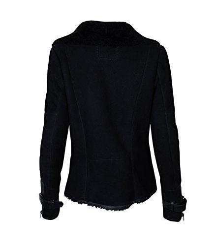 Damen TIGHA Lederjacke Luana mit Lammfell schwarz – black black M - 2