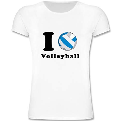 Sport Kind - I Love Volleyball - 164 (14-15 Jahre) - Weiß - F131K - Mädchen Kinder T-Shirt