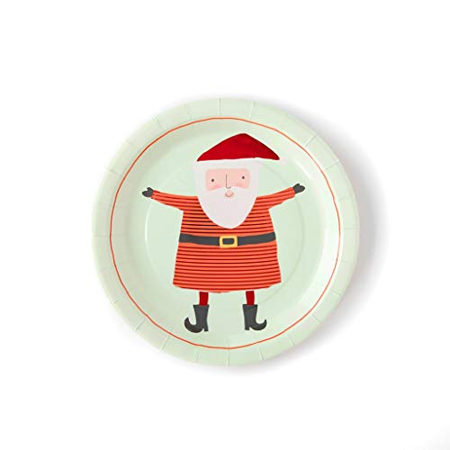 Weihnachtsteller für Weihnachten, Party, Tischdekoration, Pappteller, Essteller, Dessert, Weihnachtsmann, 22,9 cm, 24 Stück