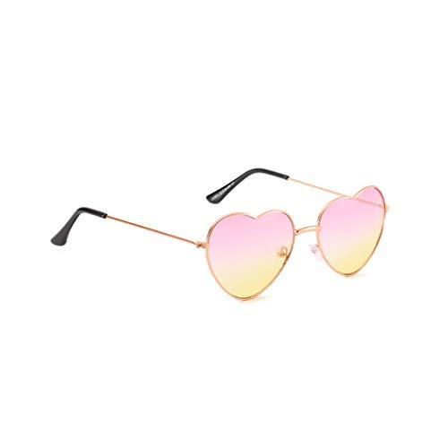 Igemy Männer und Frauen Sonnenbrillen Persönlichkeit Bunte Brille Metall Herzförmigen Trend (A)