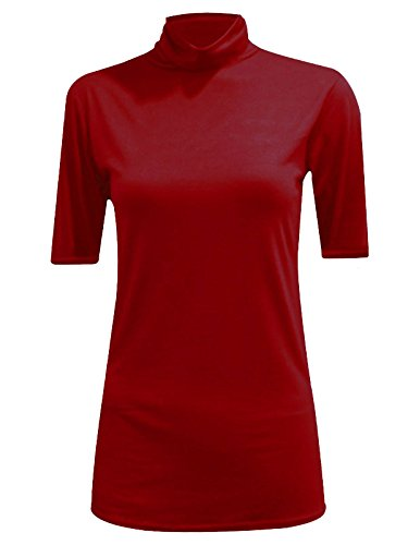 WearAll - Damen Rollkragen Elastisch Ärmellos Unterhemd Bodycon Top - 8 Farben - Größe 36-42 Wine Short Sleeve