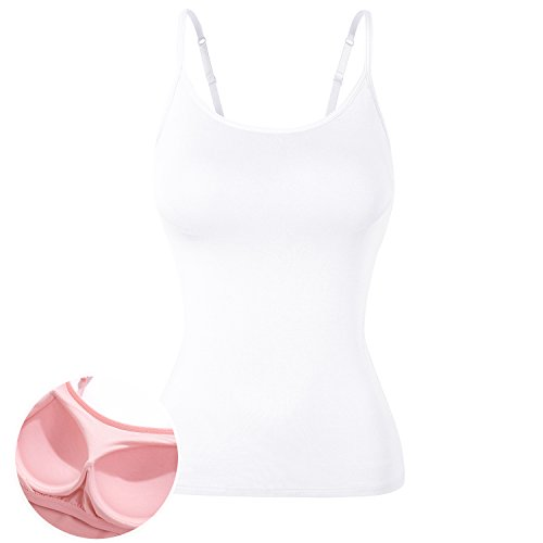 DYLH Damen BH-Hemd Unterhemd Spaghettiträger Top 1 Pack Typ B-Weiß 2XLarge