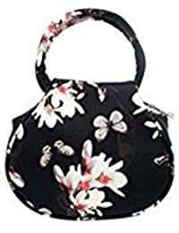 Tradico® PU Leather Handbags National Shoulder Bags Flower Printing Black