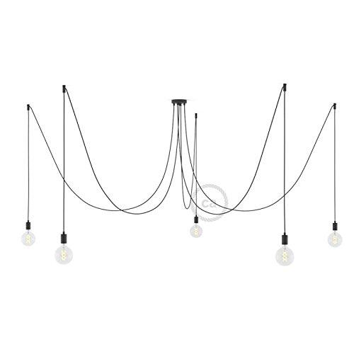 Creative-Cables Spider, supension Multiple avec 5 Pendants, métal Noir, câble Lin Naturel Anthracite RN03, Made in Italy - Monté, Kit décentralisateur, Cylindrique