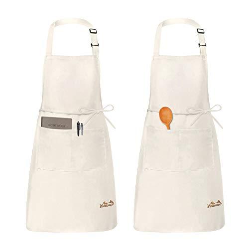 Viedouce 2 Pack Schürze,Wasserdicht Kochschürze mit Taschen,Verstellbarem Küchenschürze,Grillschürze,latzschürze,Küchenschürze (Orange)