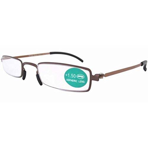 Eyekepper doppio dell'acciaio inossidabile di colore della montatura sottile occhiali da lettura Marrone Cornice Tempio Giallo +3.5