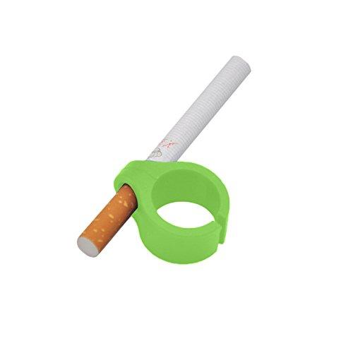 wer Silikon Hände frei Zigarette Fingerhalter, Dehnbar und Langlebig Zigarren Zubehör, Schützen Sie Ihren Finger für Console Gamers Guitar Players und Treiber (Grün) ()