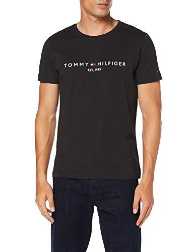 Tommy Hilfiger Herren Tommy Logo Tee T-Shirt, Schwarz (Jet Black Base), Small (Herstellergröße: S) (Tommy Hilfiger Schwarz Shirt)