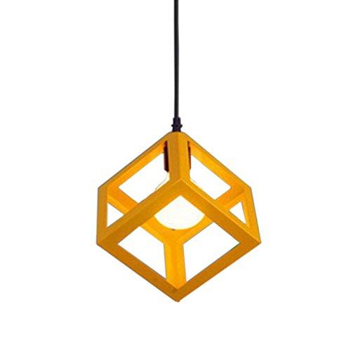 STOEX Lustre Suspension Industrielle Contemporain forme Cube Carré pour Restaurant,Salle à manger, bar, (1PCS Jaune)