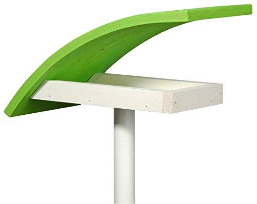 """Luxus-Vogelhaus 31003e Design-Vogelfutterhaus """"New Wave"""" in weiߟ mit hellgrünem Dach, inklusive Ständer Gesamthöhe circa 174 cm"""