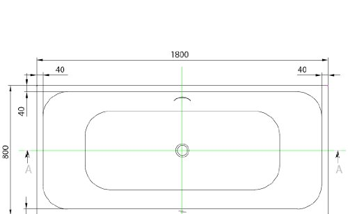 Villeroy & Boch Badewanne Rechteck 180x80cm weiß, Made by Foormat, mit Schriftzug Formaat auf der Wanne, FO05081000