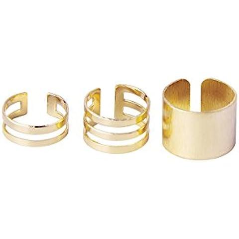 Anillo - SODIAL(R)3pzs Anillo abierto superior del nudillo sobre el dedo medio- Dorado