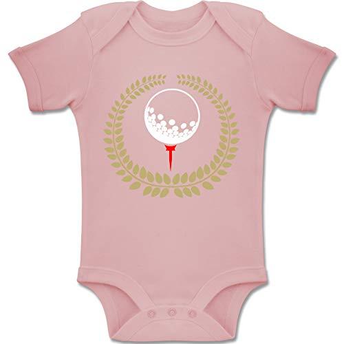 Sport Baby - Lorbeerkanz Golfball Golf-Tee - 1-3 Monate - Babyrosa - BZ10 - Baby Body Kurzarm Jungen Mädchen