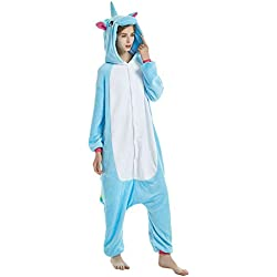 KiKa Monkey Flanela Unicornio Cartoon Animal Novedad Navidad Pijama Cosplay (M, azul)