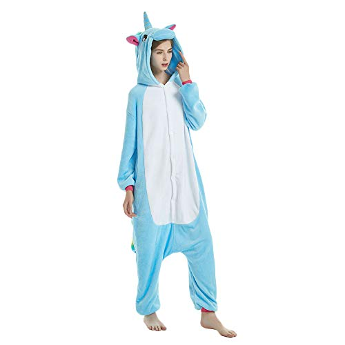 Missley unicorn pajama adult anime cosplay costume di halloween costume (m, blue)