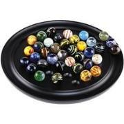 Authentic Models - Venezianisches Solitärspiel - Mahagoni-Platte - Glaskugeln (Unikate) 30 x 3 cm