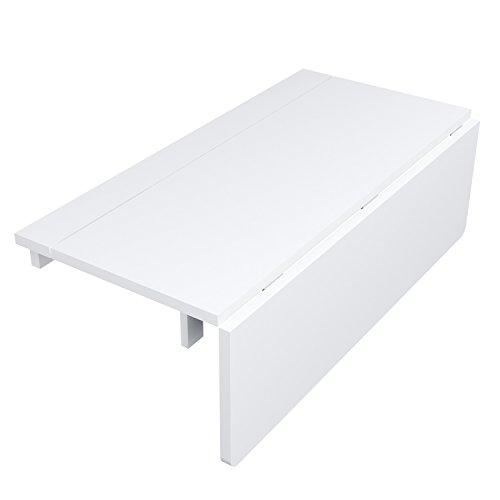 HOMFA Tavolo da Muro in Legno Bianco, Tavolino Pieghevole da ...