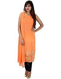 Antarnaad Women's Georgette Straight Chikankari Unstitched Dress Material (AP0122, Light Orange)