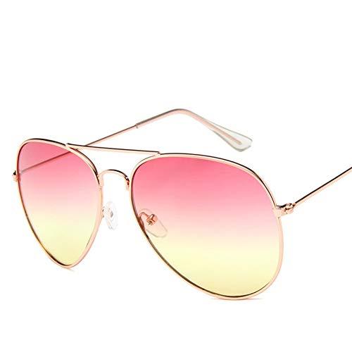 ADGJLI Ozean Sonnenbrillen Für Frauen Marke Metallrahmen Gelbe Sonnenbrille Rosa Objektiv Sonnenbrille Aviator