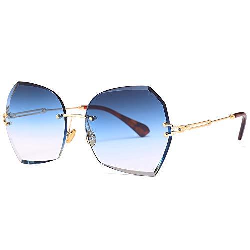 Yiph-Sunglass Sonnenbrillen Mode Polygonale Besatz Sonnenbrille Unisex Retro Brille UV400 Außenbrille Blendschutz (Farbe : Gradient Blue Gray c3, Größe : Free Size)