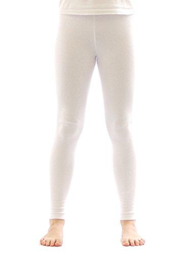 Kinder Thermo Mädchen Leggings leggins Hose lang aus Baumwolle Fleece Futter weiss 128