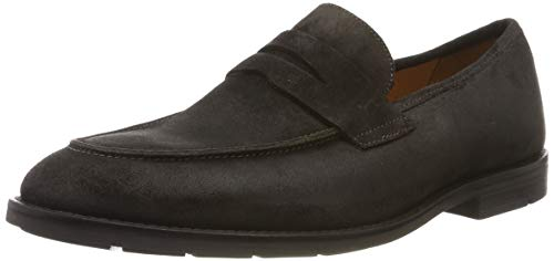 Clarks ronnie step, mocassini uomo, marrone dark brown nub, 44 eu