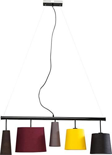 Kare Design Hängeleuchte Parecchi Colore 100, moderne Stofflampenschirme (Schwarz, Gelb, Grau, Dunkelrot, Braun) Pendelleuchte für Esstisch, Design Wohnzimmerlampe (H/B/T) 160x107x30cm