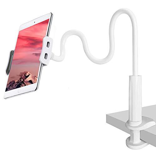 CLM-Tech Schwanenhals Halterung für 4-11 Zoll Tablet PC's und Smartphones, Flexibler Verstellbarer Arm für den Bettrahmen, Schreibtisch und mehr, 78 cm lang, weiß - Bettrahmen Weiß
