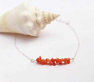 Bracelet perles de corail rouge-orangé naturel - bracelet chaîne argent massif 925 - bracelet été - bracelet corail - bracelet perles
