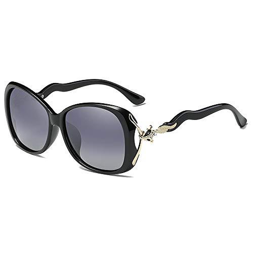 BlueAurora Damen polarisierte Sonnenbrille, stilvolle quadratische Rahmen für Frauen,Black