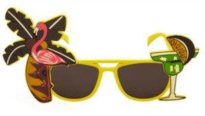 Sonnenbrille Kostüm Hawaii Strand Party Tropisch Färbig Zubehör Gelb