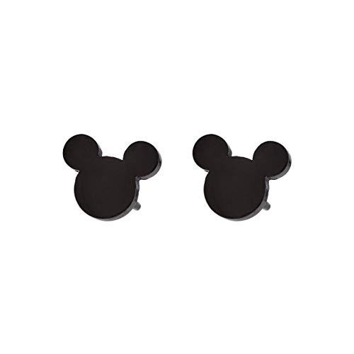 Selia Micky Maus Ohrring mini Ohrstecker minimalistisch gebürstete Optik handgemacht (schwarz) -