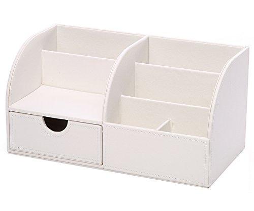 KINGFOM™ 7 Speicherabteil Multifunktionale Kunstleder Schreibtisch Organisator (Weiß) - 2