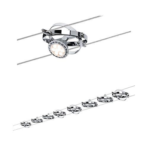 Paulmann 941.53 Cardan Système d'éclairage suspendu à projecteurs LED - Câble de tension de 10 m de long avec 8 têtes de spots & Transformateur - Plafonniers flottants GU5.3 max 10W, en chrome