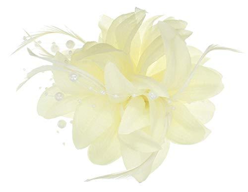 5230 Elfenbein-Stoffblume/fascinator, mit Perlen-Brosche & pin.Wedding Rennen