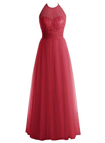 Bbonlinedress Robe de cérémonie et de demoiselle d'honneur A-line plissée dos nu sans manches et strass longueur ras du sol en tulle Rouge Foncé