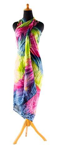 Riesen Auswahl - Sarong Pareo Wickelrock Strandtuch Tuch Wickeltuch Handtuch - Blickdicht - Handbemalt Tie Dye Batik inkl. Schnalle in Fischform Tie Dye Blau Rosa Grün