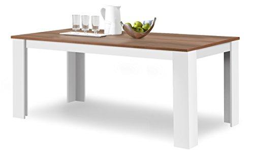 agionda ® Esstisch Toledo in Weiss und Nussbaum 160 x 90 cm mit kratzfester Melamin Oberfläche