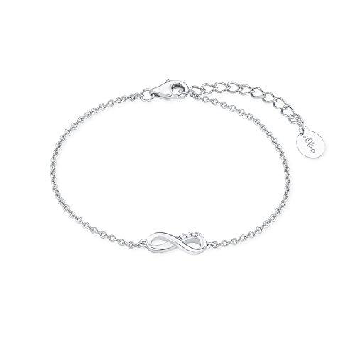 """s.Oliver Damen Armband So Pure (16+3 cm) So Pure mit \""""Infinity-Unendlichkeitszeichen\"""" aus 925 Sterling-Silber mit Zirkonia weiß"""